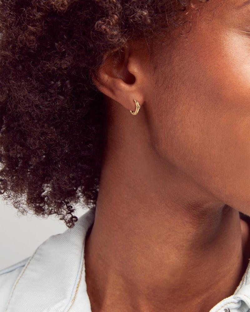 Audrey 14k Yellow Gold Huggie Earrings in White Diamond
