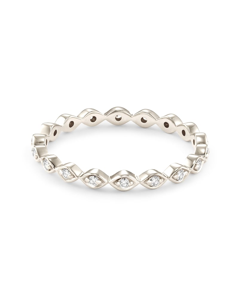Nicolette 14K White Gold Band Ring in White Diamond
