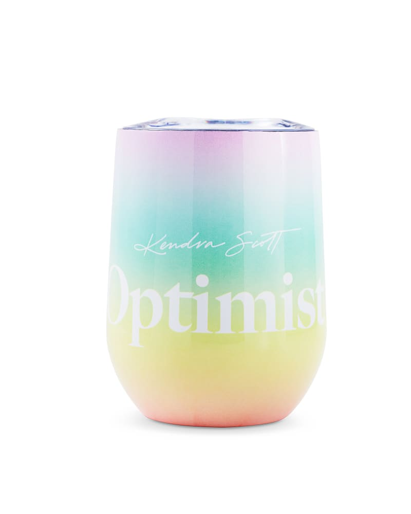 Optimist Stemless Wine Glass in Ombre Rainbow