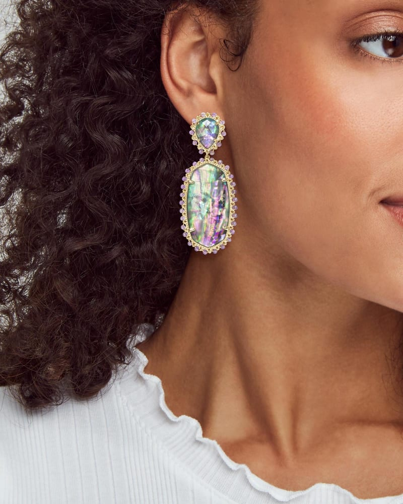 Parsons Gold Statement Earrings in Lilac Abalone
