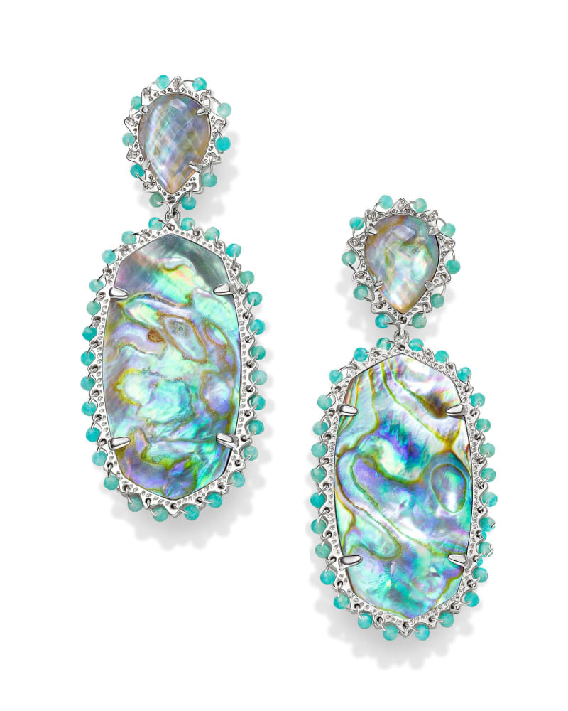 Parsons Bright Silver Statement Earrings in Iridescent Abalone