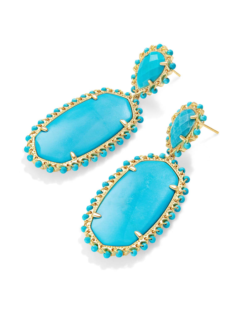 Parsons Gold Statement Earrings in Turquoise Magnesite