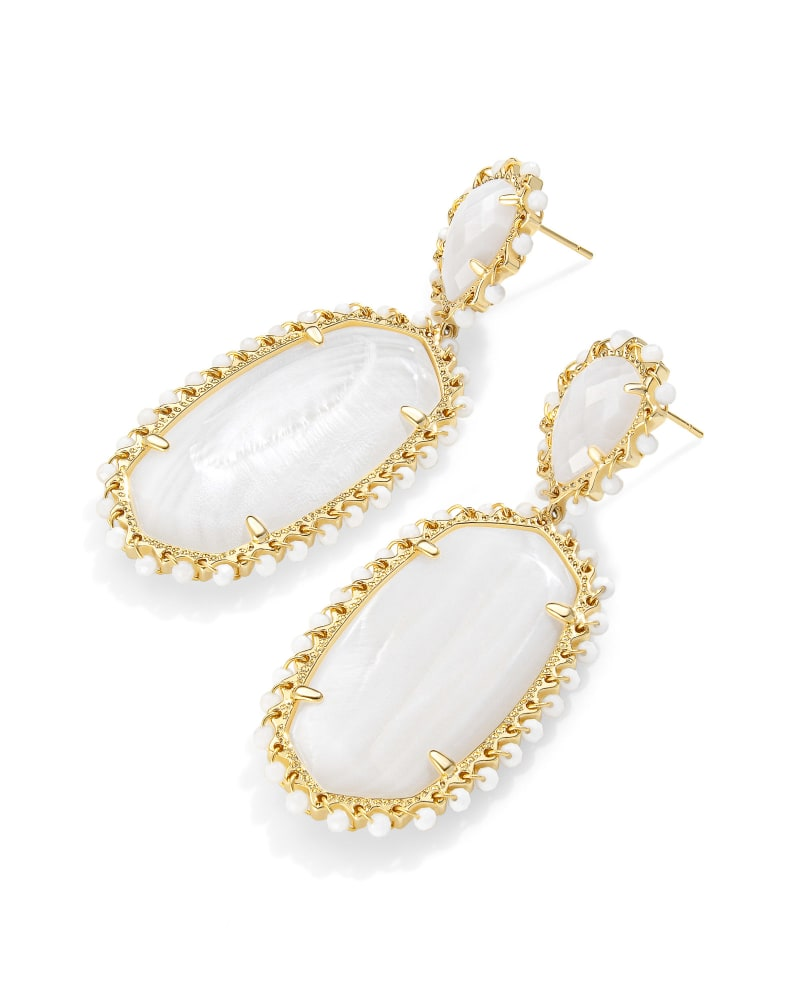 Parsons Gold Statement Earrings in White Mother-Of-Pearl