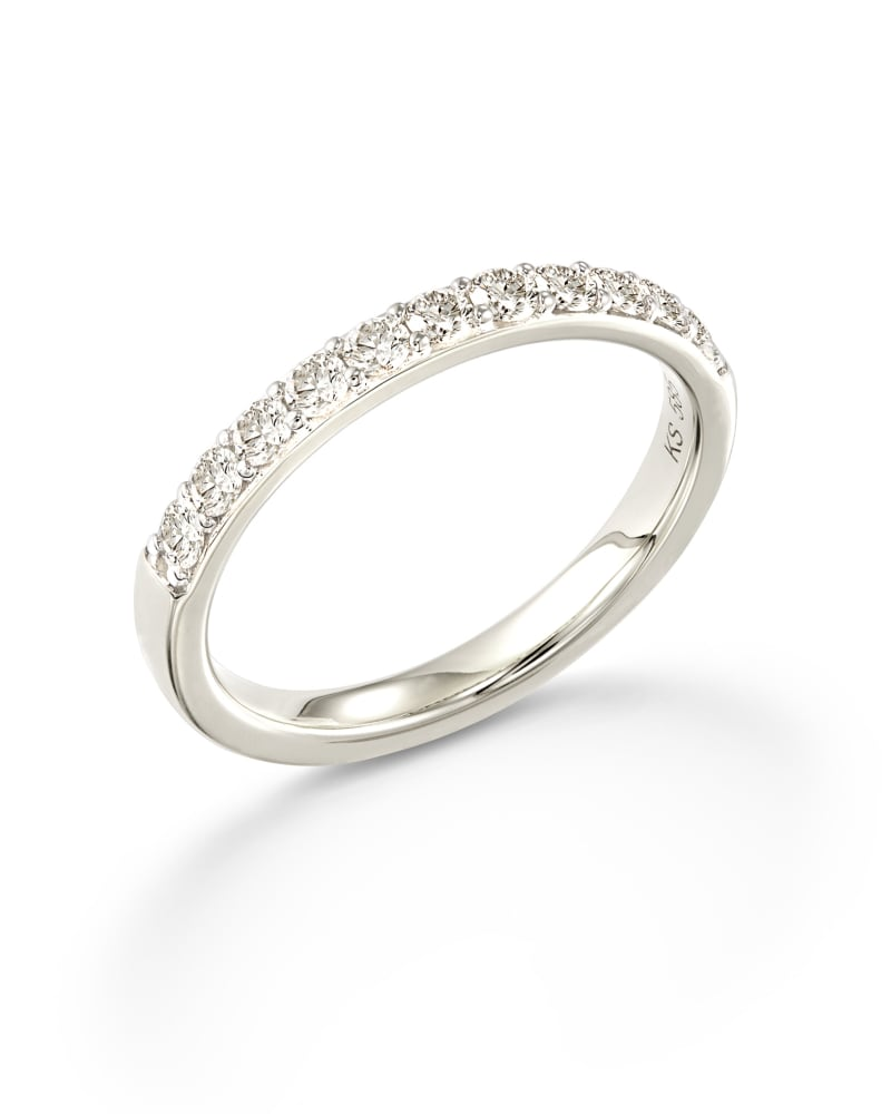 Raleigh 14k White Gold Band Ring in White Diamond