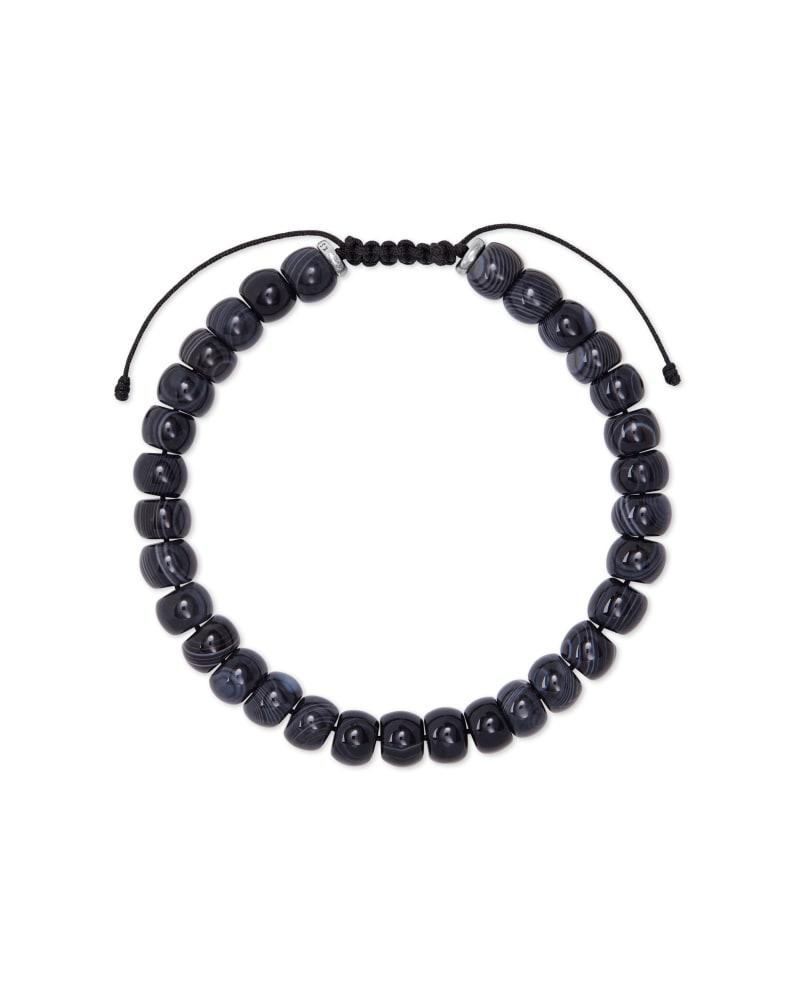 Cade Oxidized Sterling Silver Corded Bracelet in Black Banded Agate | Kendra Scott