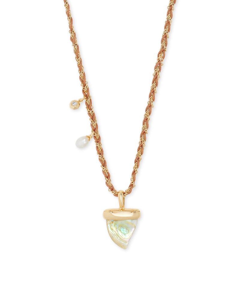 Oleana Gold Long Pendant Necklace in Iridescent Abalone | Kendra Scott