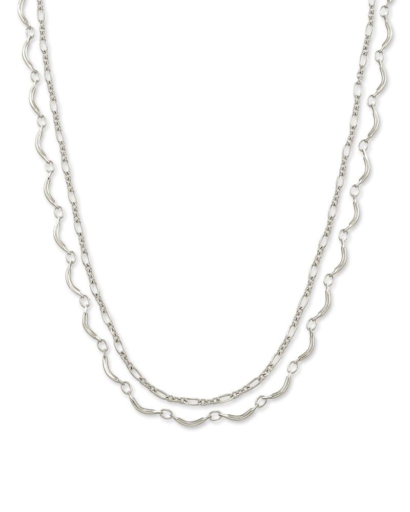 Lori Multi Strand Necklace in Bright Silver