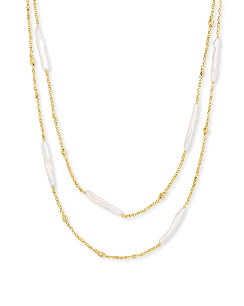 Eileen Gold Multi StrandNecklacein White Pearl | Kendra Scott