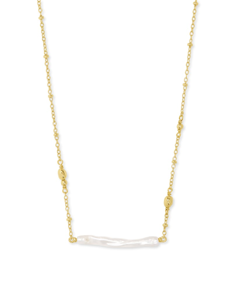 Eileen Gold Pendant Necklace in White Pearl