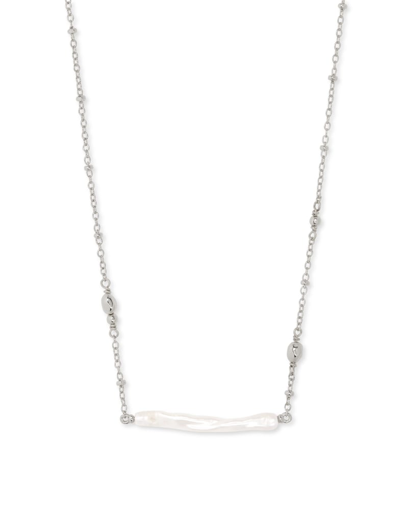 Eileen Rhodium Pendant Necklace in White Pearl
