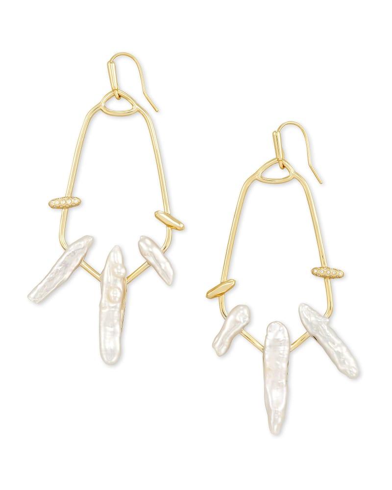 Eileen Gold Statement Earrings in White Pearl | Kendra Scott