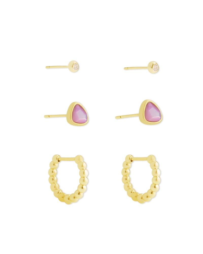 Ivy Gold Huggie& Stud Earrings in Lilac Mother of Pearl