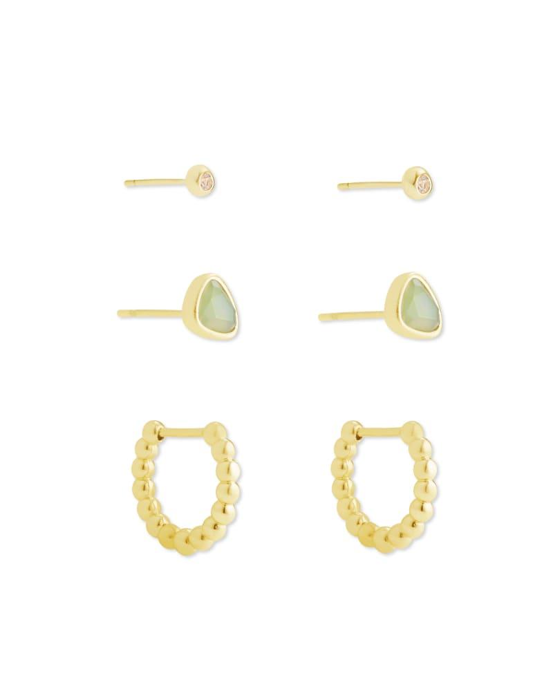 Ivy Gold Huggie& Stud Earrings in Matte Iridescent