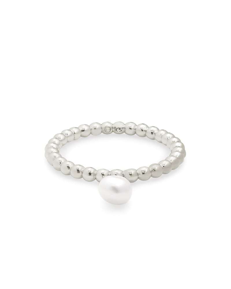 Lila Band Ring Silver in White Pearl