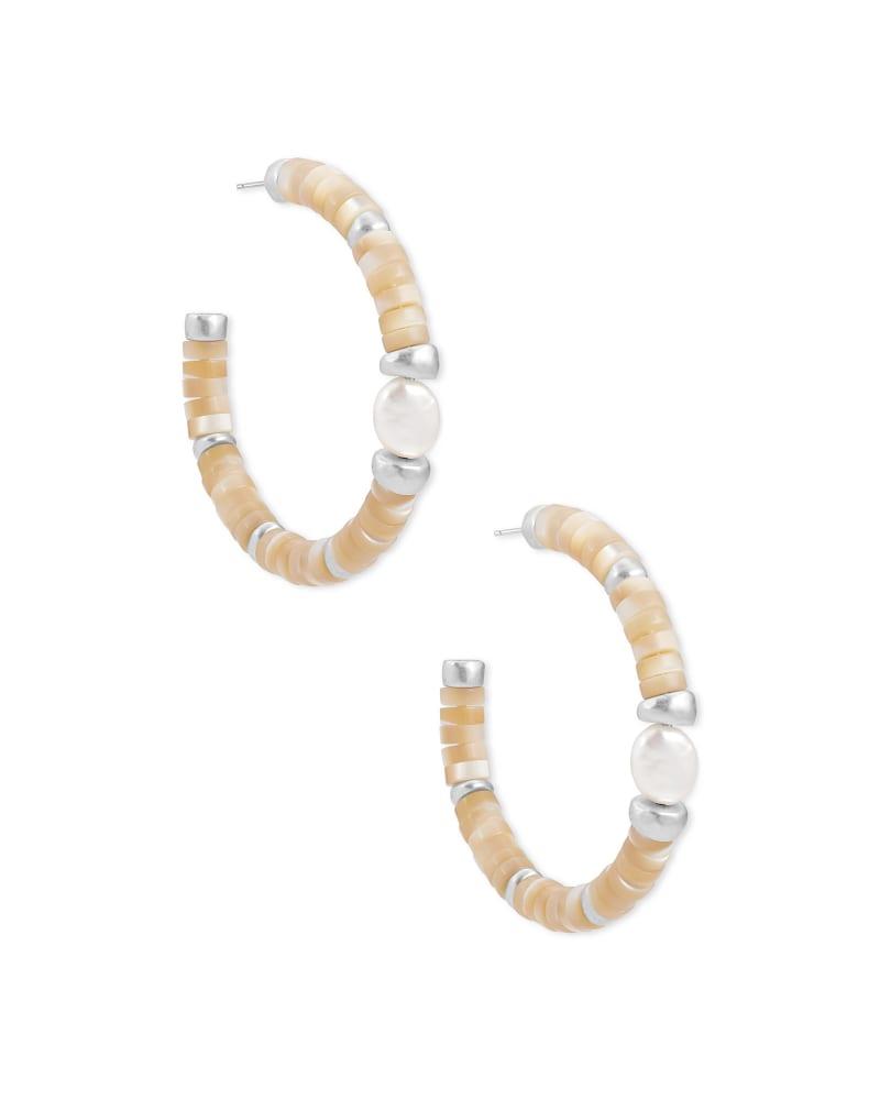 Lila Vintage Silver Hoop Earrings in Natural Mix