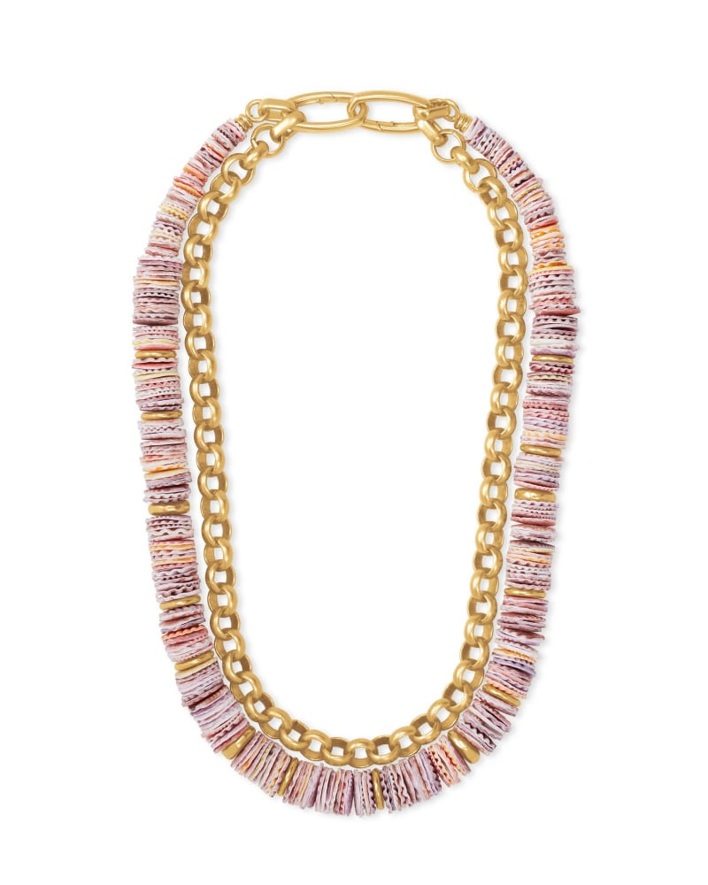 Lila Vintage Gold Multi Strand Necklace in Coral Mix