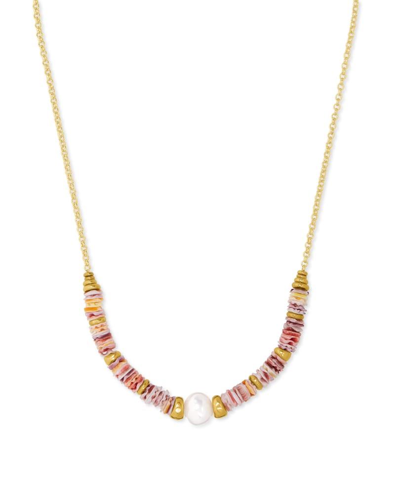 Lila Vintage Gold Strand Necklace in Pastel Shells