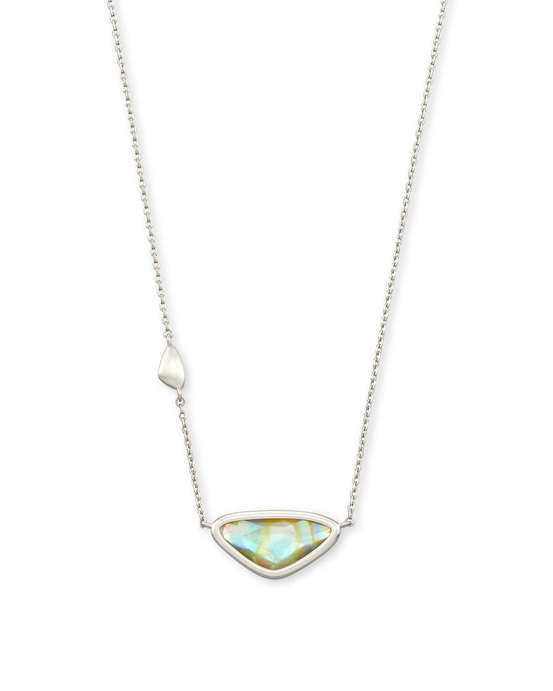 Margot Rhodium Pendant Necklace in Iridescent Abalone