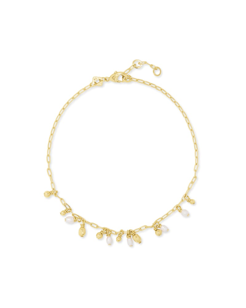Mollie Gold Anklet in Gold White Pearl