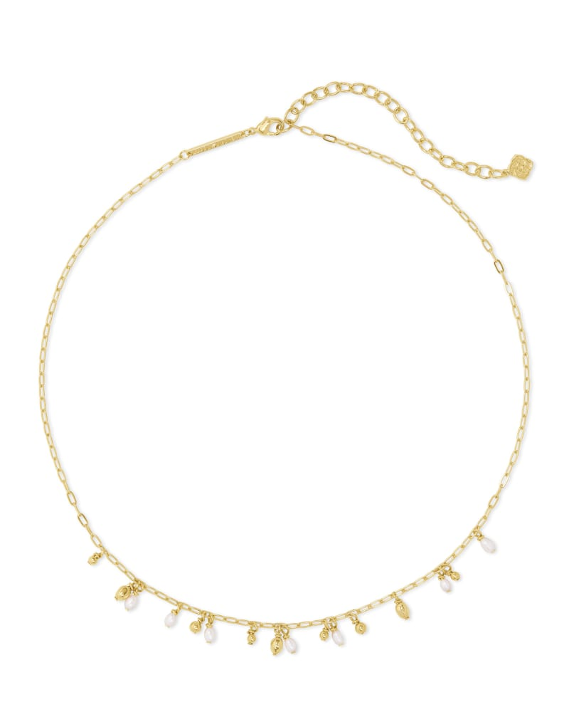 Mollie Gold Choker Necklace in White Pearl   Kendra Scott