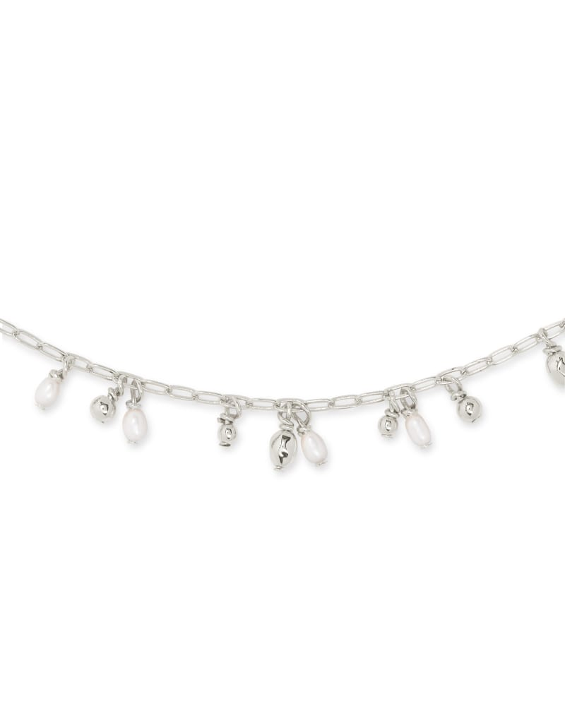 Mollie Silver Choker Necklace in White Pearl