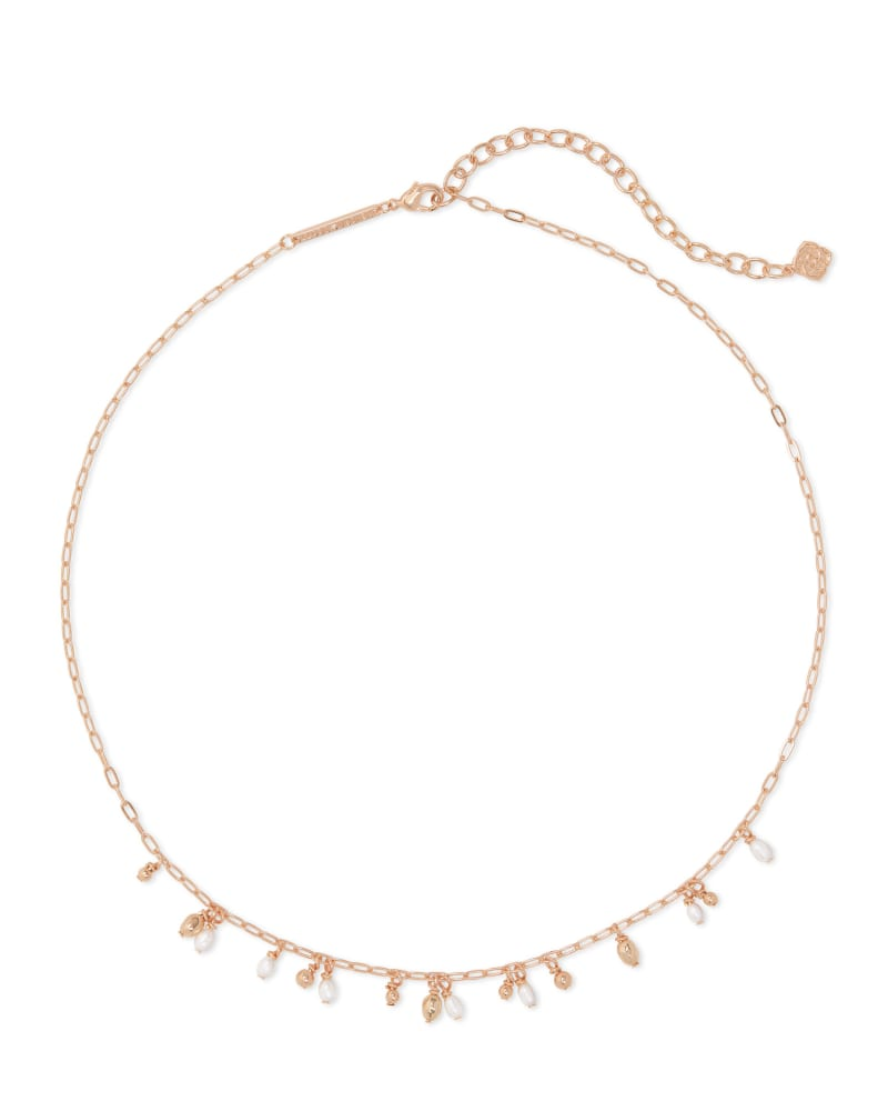 Mollie Rose Gold Choker Necklace in White Pearl