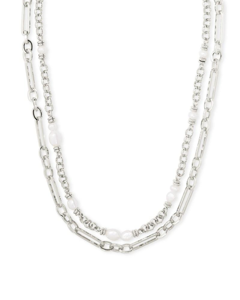 Mollie Silver Multi Strand Necklace in White Pearl