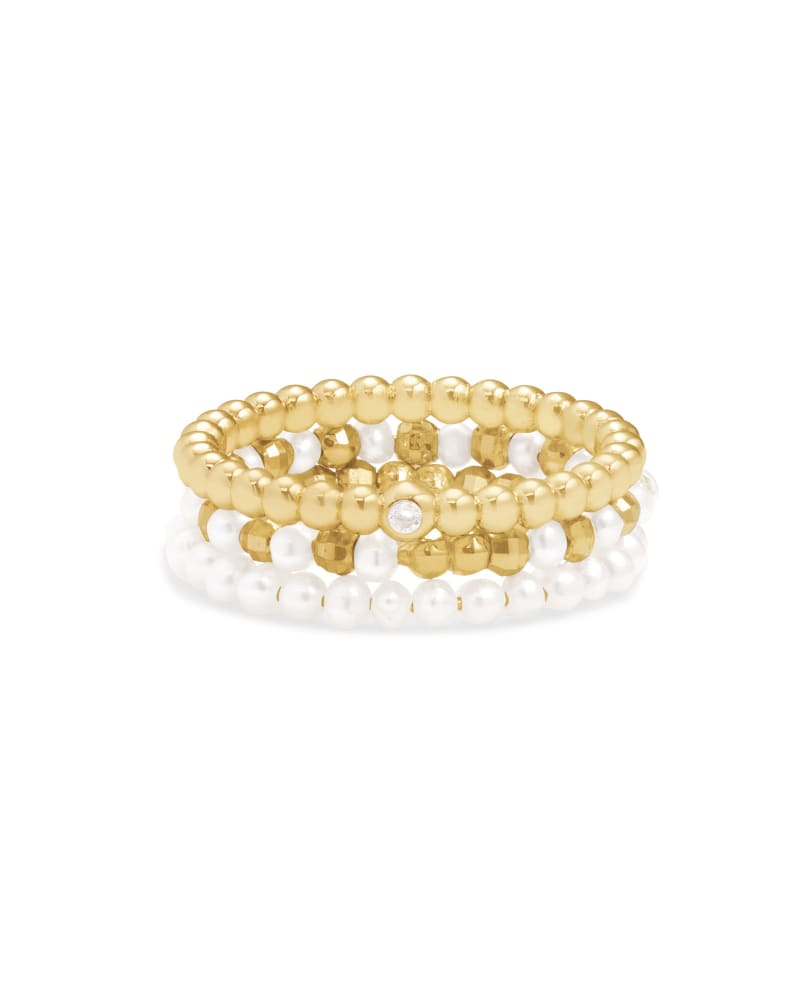 Mollie Ring Setof3inGold White Pearl