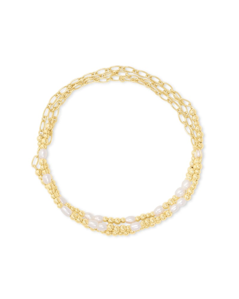 Mollie Gold Stretch Bracelet Set of 3 in White Pearl