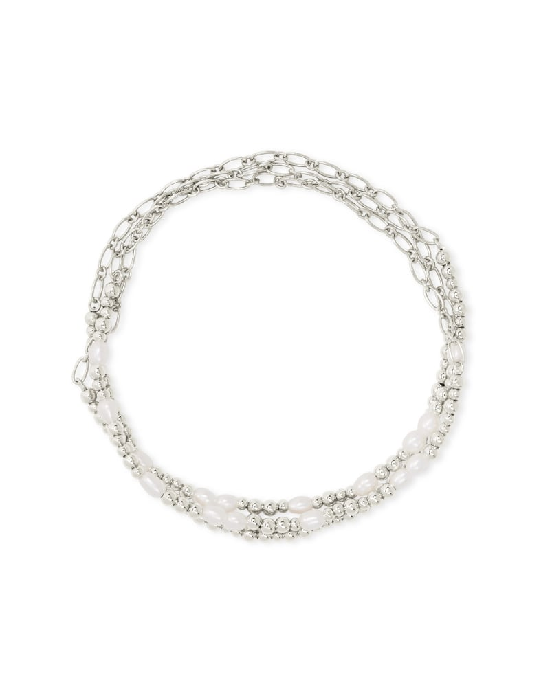 Mollie Silver Stretch Bracelet Set of 3 in White Pearl