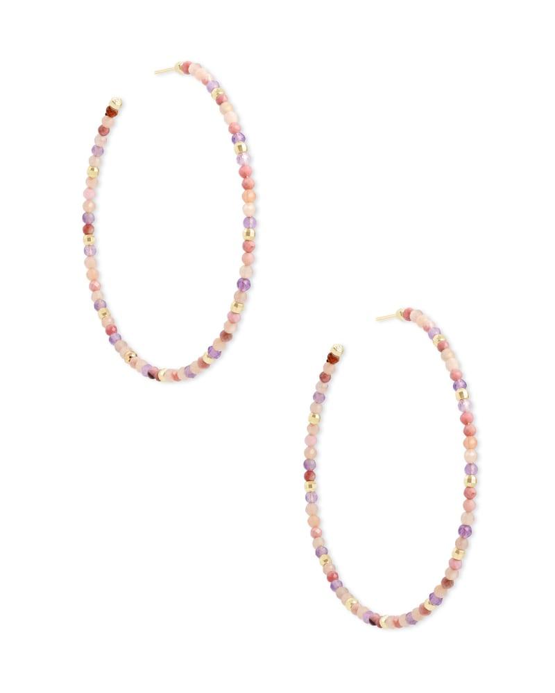 Scarlet Gold Hoop Earrings in Pastel Mix