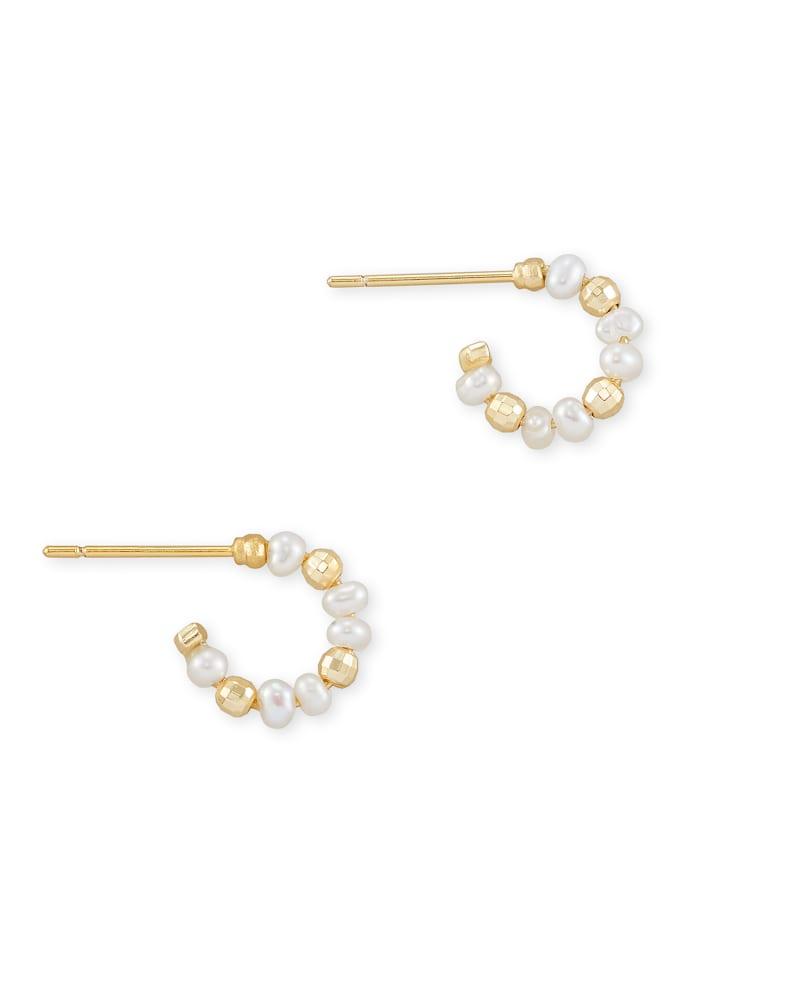 Scarlet GoldHuggieEarrings in White Pearl