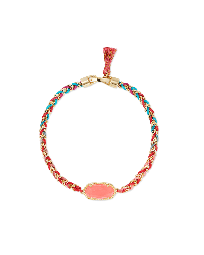 Elaina Gold Braided Friendship Bracelet in Coral Illusion