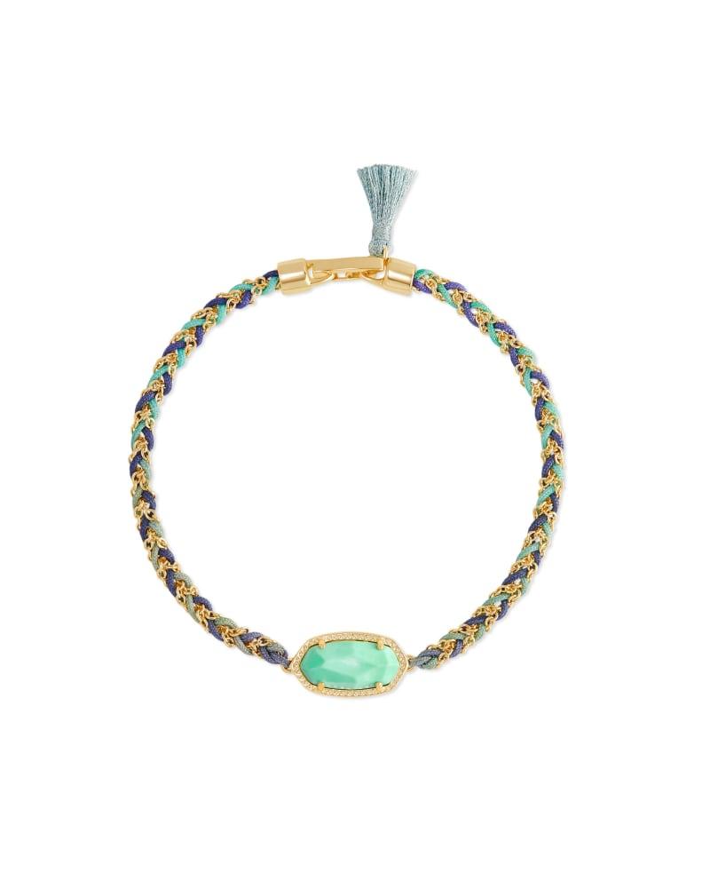 Elaina Gold Braided Friendship Bracelet in Mint Magnesite