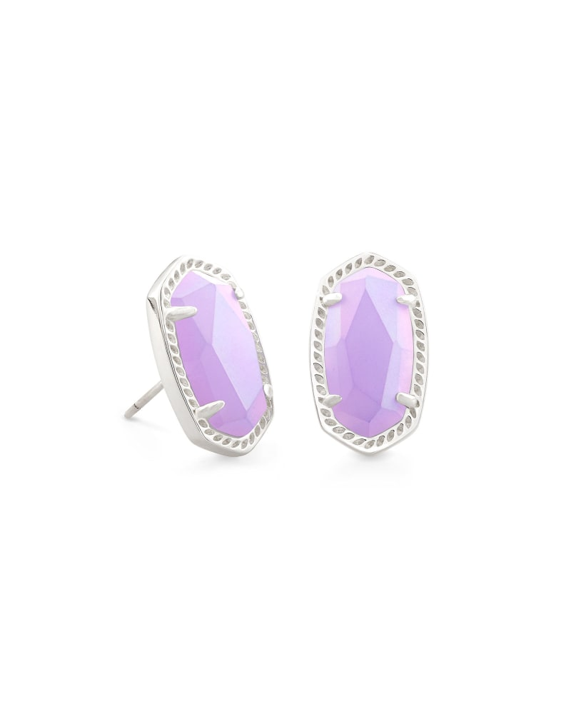 Ellie Silver Stud Earrings in Matte Iridescent Lilac Glass