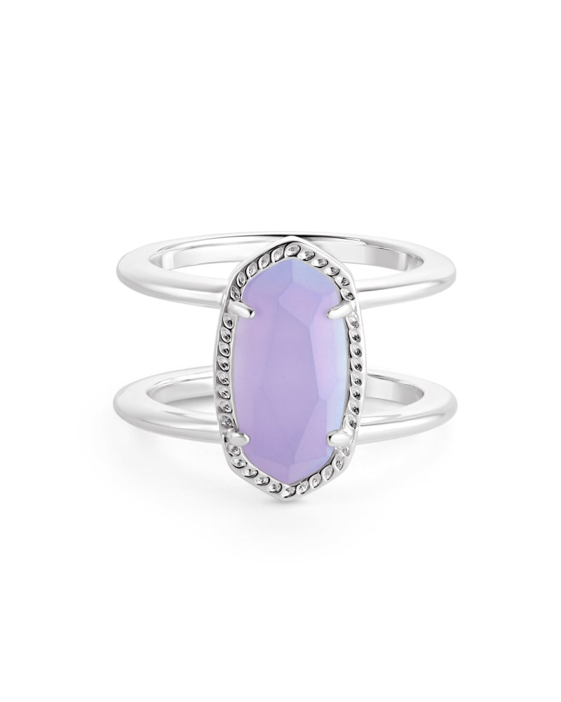 Elyse Double Band Ring in Matte Iridescent Lilac Glass