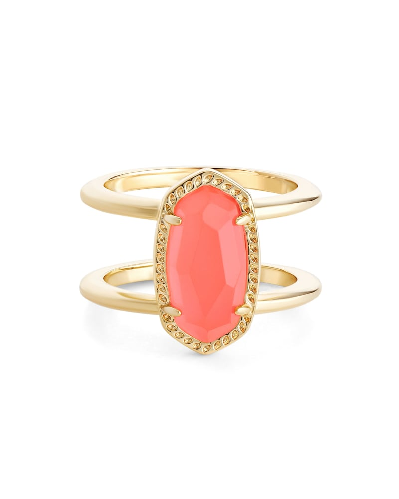 Elyse Double Band Ring in Coral Illusion