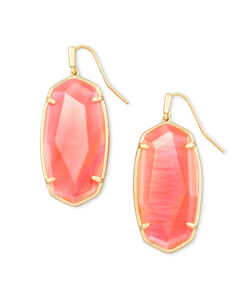 Faceted Elle Drop Earrings in Coral Illusion