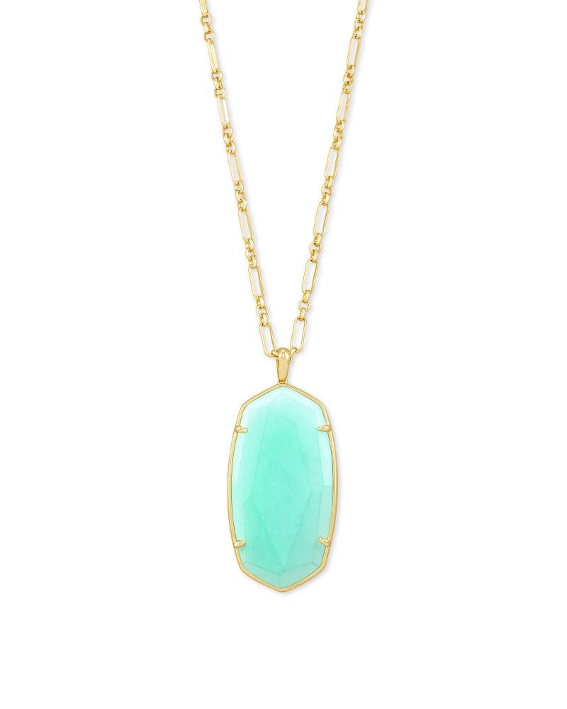 Faceted Reid Long Pendant Necklace in Matte Iridescent Mint Glass