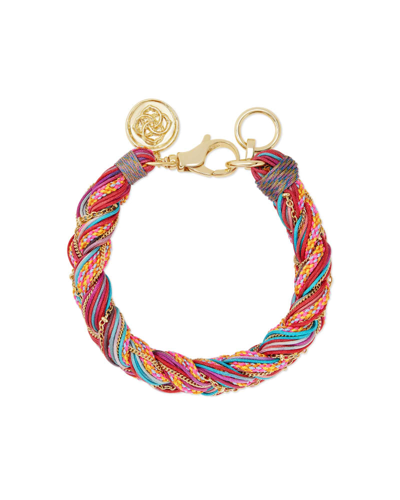 Masie Gold Corded Friendship Bracelet in Coral Mix Paracord
