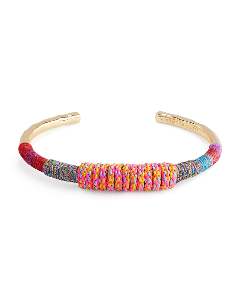 Masie Gold Cuff Bracelet in Coral Mix Paracord