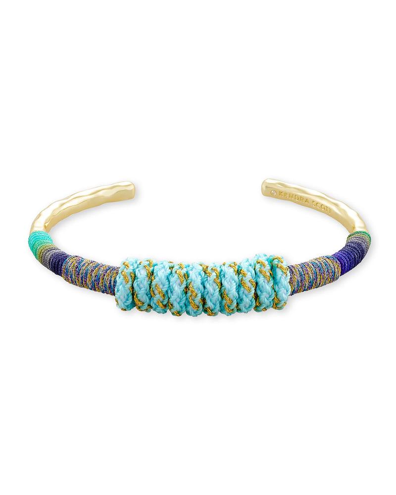 Masie Gold Cuff Bracelet in Mint Mix Paracord