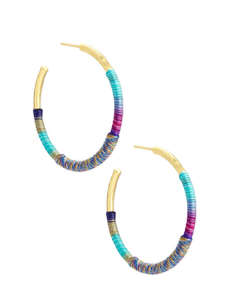 Masie Gold Hoop Earrings in Mint Mix Paracord