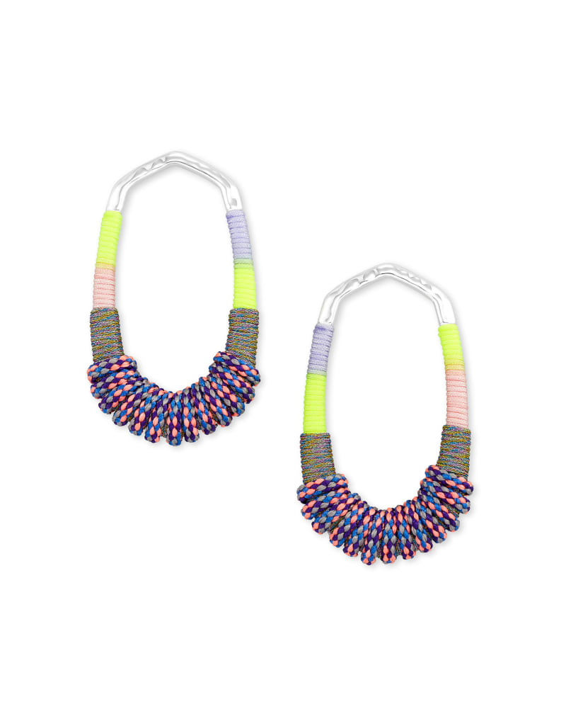 Masie Silver Open Frame Earrings in Lilac Mix Paracord