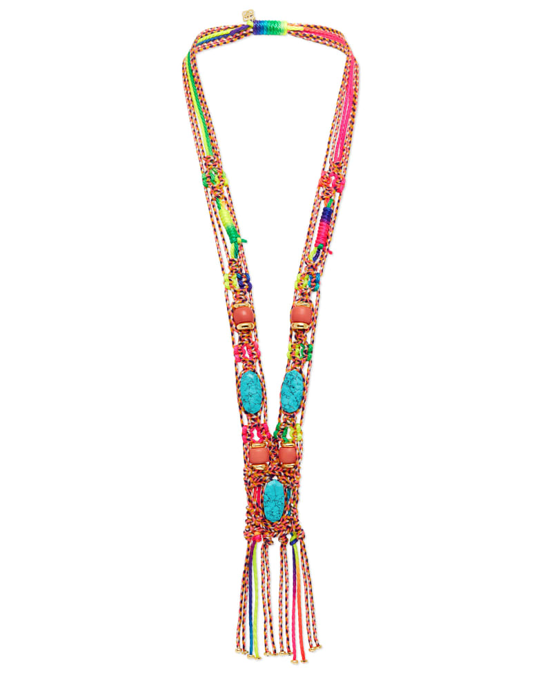 Masie Statement Necklace in Coral Mix Paracord