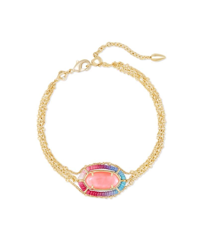 Threaded Elaina Gold Multi Strand Bracelet in Coral Illusion