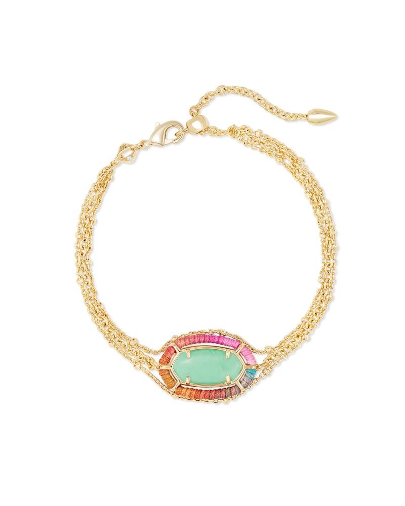 Threaded Elaina Gold Multi Strand Bracelet in Mint Magnesite
