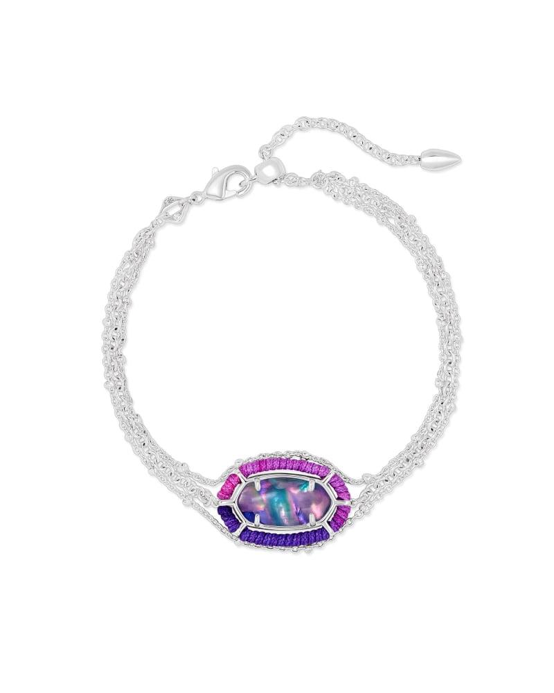 Threaded Elaina Silver Multi Strand Bracelet in Lilac Abalone