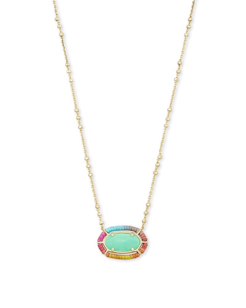 Threaded Elisa Gold Pendant Necklace in Mint Magnesite