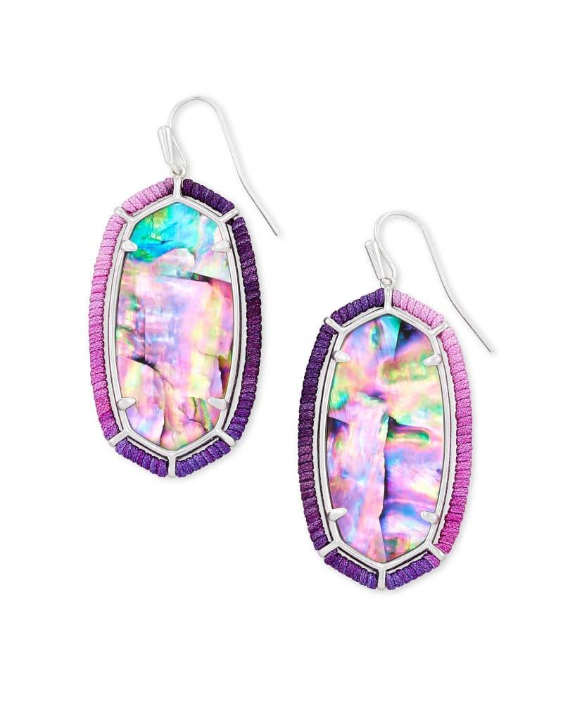 Threaded Elle Silver Drop Earrings in Lilac Abalone